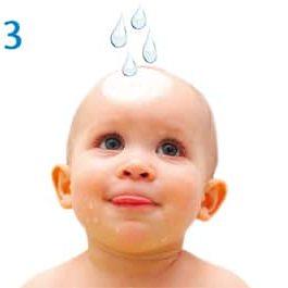 BabyBene® Gel Anwendung Schritt 3 - Wasser auftragen